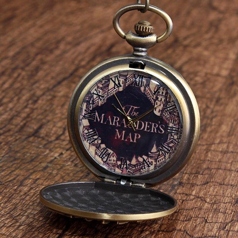 Marauders Map Vintage Pocket Watch Retro Fob Necklace Watch Men Women Chain Pendant Children Gift Reloj De Bolsillo