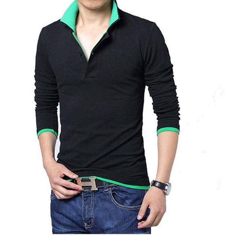 Brand Men   Polo   Shirts Cotton Contrast Color Long Sleeve   Polo   Shirts Men Casual Work Out Comfortable Big Size   Polos   Para Hombre