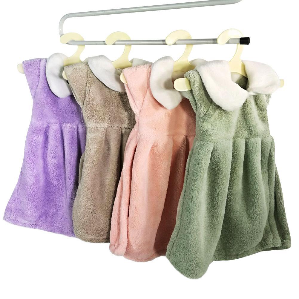 Soft Coral Fleece Lovely Princess Dress Hand Towel Absorbent Kid Bathroom Drying Cloth