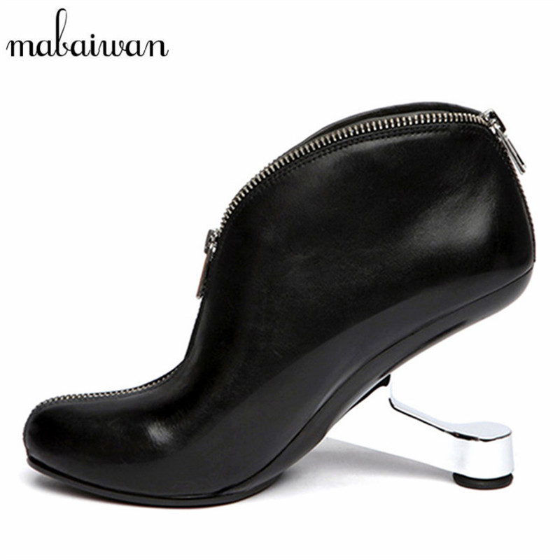 Mabaiwan Designer Strange Heel Women Ankle Boots Genuine Leather Bota Feminina Front Zipper Botas Mujer High Heels Women Pumps 1 pc middle main brush motor for robot vacuum cleaner a320 seebest c565 original replacement parts for automatic vacuum cleaner