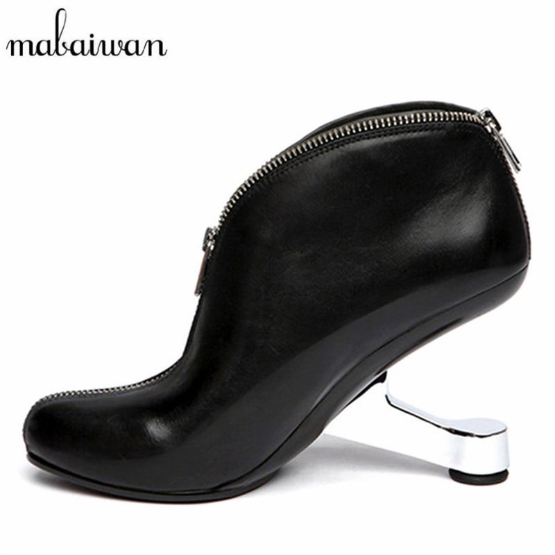 Iron Strange Heel Women Ankle Boots Genuine Leather Bota Feminina Black Front Zipper Botas Mujer High