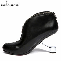 Iron Strange Heel Women Ankle Boots Genuine Leather Bota Feminina Black Front Zipper Botas Mujer High