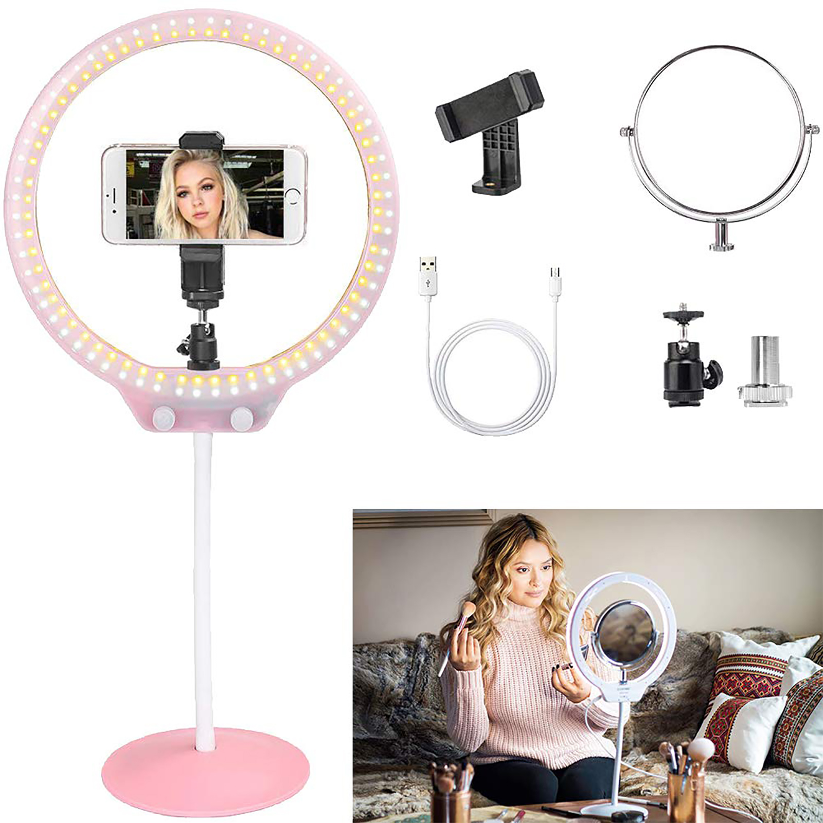 ZOMEI LED Selfie Ring Light Photographic Lighting Camera Photo Video Studio Flexible Table Ringlight with Stand