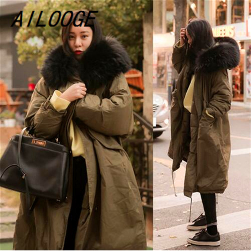 AILOOGE 2017 Winter Coat Women Large Fur Collar Hooded Long Jacket Thicken Warm Korean Padded Parkas Oversized Military Parka цены онлайн