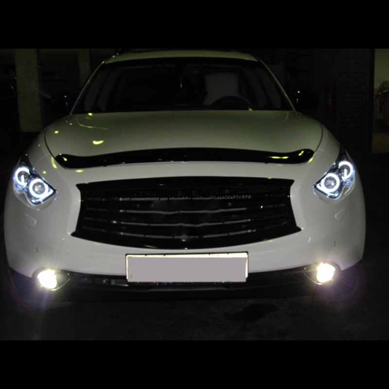 For Infiniti FX QX70 FX35 FX37 FX50 2009-2013 Ultra Bright Day Light DRL CCFL Angel Eyes Demon Eyes Kit Warm White Halo Ring hochitech white 6000k ccfl headlight halo angel demon eyes kit angel eyes light for vw volkswagen golf 5 mk5 2003 2009