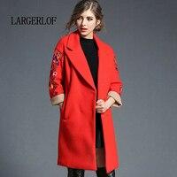 LARGERLOF Женский блейзер красный простой женский костюм куртки осень весна Длинный блейзер пиджак женский BR57116