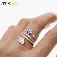 Nowe Anillos najwyższej jakości śruby Twist pierścienie z mikro betonowa Hamsa Fatima ręcznie dla Palm Eye Charm kryształy kobiety biżuteria