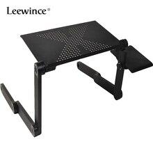 Leewince computador mesa dobrável portátil ajustável portátil portátil portátil notebook lap pc mesa dobrável ventilado suporte cama bandeja