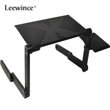 Leewince Meja Komputer Portable Adjustable Foldable Laptop Notebook Lap PC Lipat Meja Vented Berdiri Bed Tray(China)