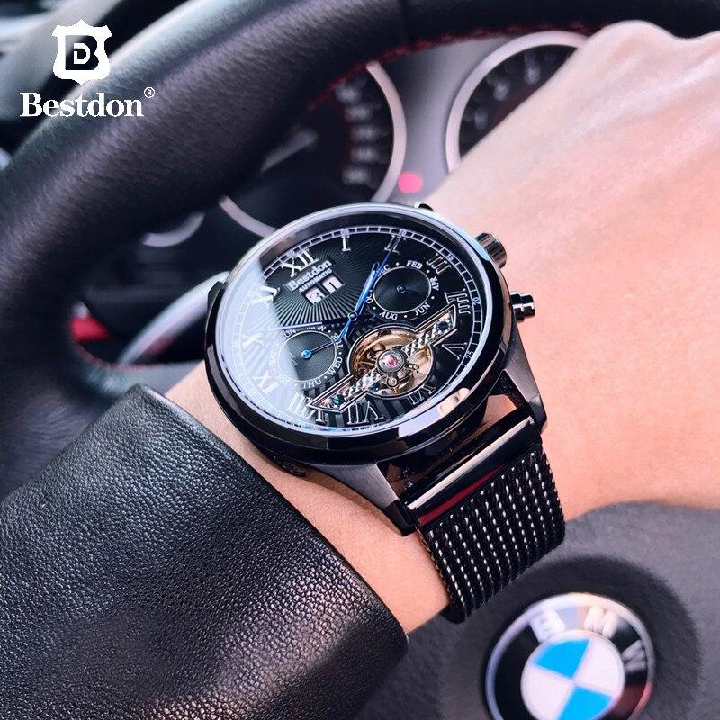 Bestdon Tourbillon Mechanical Watch Men's Sports Automatic Full Steel Watches Top Luxury Brand Students 2019 Roman Waterproof