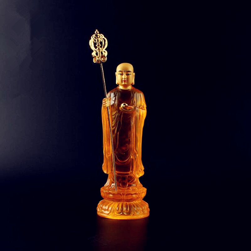 Ancient Chinese mythology Glass glazed gold solemn station does not fade the Tibetan king Buddha statue free ship