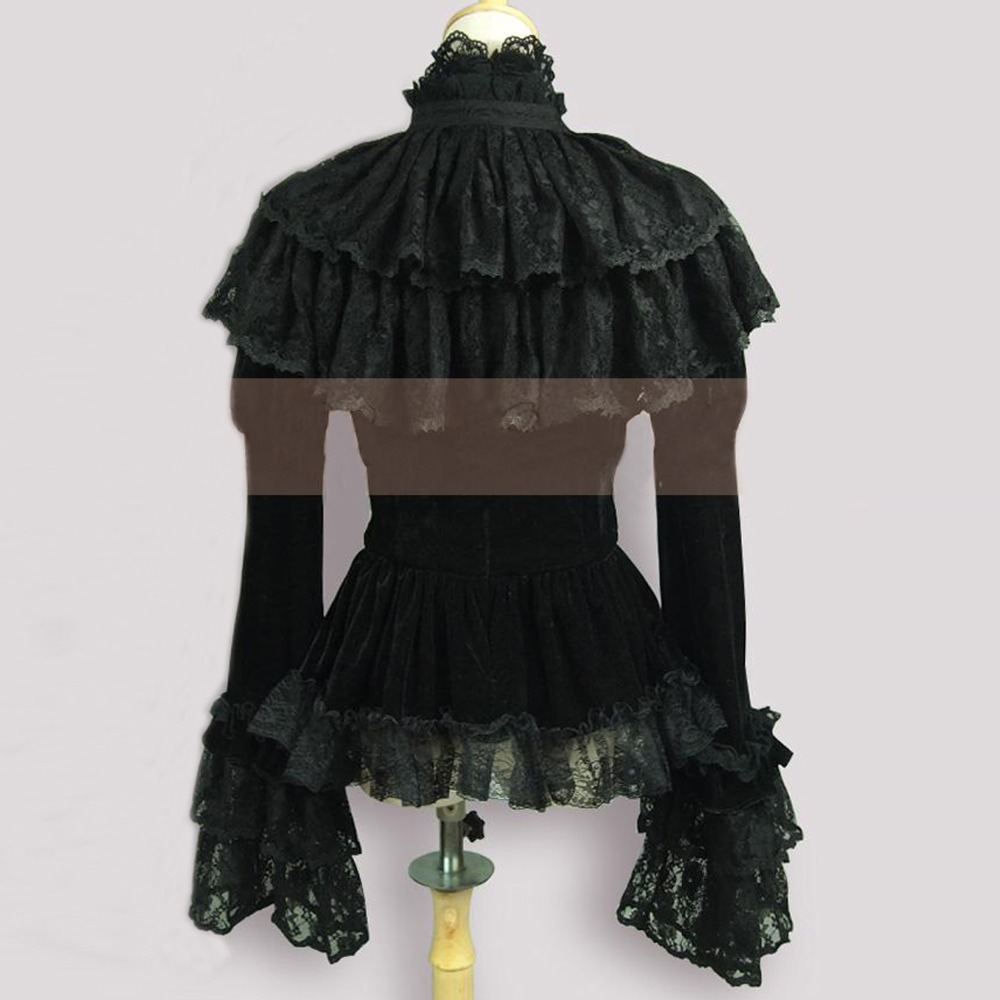 Manteau Tops Velours Automne Made Costume Jupe Vintage Châle Femme Gothique Party 2016 Dentelle Volants À Veste Custom Printemps wpxE7q8U