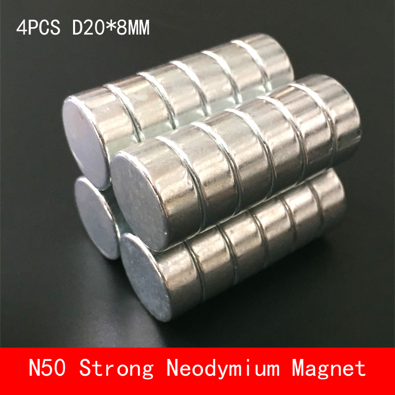 wholesale 4PCS D20 8mm N50 magnetic force neodymium magnets round strong magnet N50 diameter 20X8MM in Magnetic Materials from Home Improvement