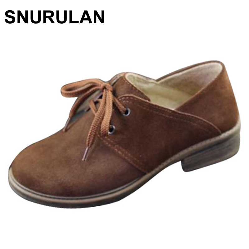 SNURULAN  Shoes Women Oxfords Shoes Brown Leather Flat Shoes Round toe Lace up Women Flats 2017 Female Spring/Autumn Footwear front lace up casual ankle boots autumn vintage brown new booties flat genuine leather suede shoes round toe fall female fashion