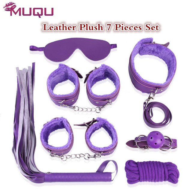 whip collar Mouth ball gag Sex Adult games bondage Set Leather Plush Four Colors  erotic toys sextoys adults for women sex shop