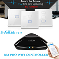Broadlink rm2 rm pro + tc2 táctil de interruptor de pared interruptor de la ue 1/2/3 banda de sistema de casa inteligente wifi inalámbrico de control remoto ir/rf aparatos