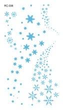 RC2338 Merry Christmas Colorful Frozen Snowflake Fake Tattoo Taty Temporary Tattoo Sticker Body Art Waterproof Tatuajes