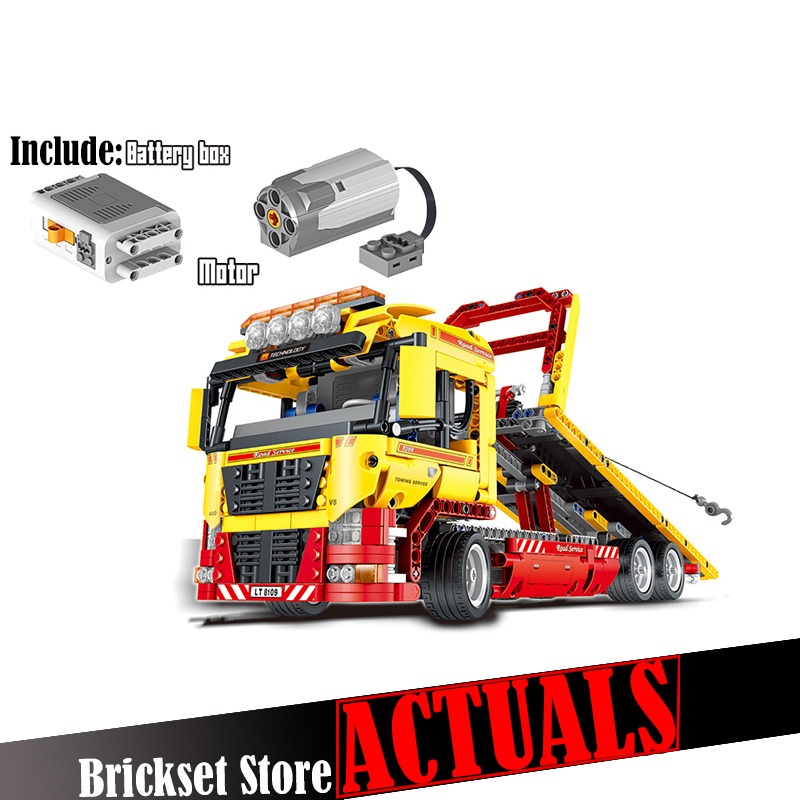 LELE 38042 Flatbed Truck Technic Model Building Blocks Bricks Toys Educational For Children brinquedos Compatible legoINGly 8109 eglo 95952
