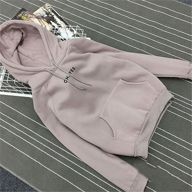 Autumn Winter Fleece Oh Yes Letter Harajuku Print Pullover Thick Loose Women Hoodies Sweatshirt Female Clothes Pink Casual Coat
