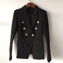 Высокое качество, новая мода, дизайнерский пиджак, женский двубортный пиджак с металлическими кнопками в форме льва, размер S-XXXL