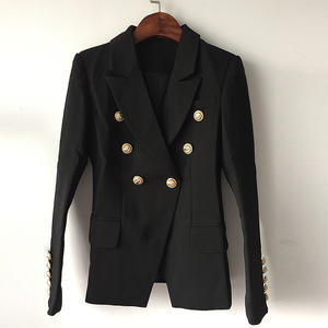 Designer Blazer Jacket Buttons Top-Quality Lion S-XXXL Outer-Size Double-Breasted Women's
