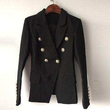 Blazer avec boutonnage double en métal, motif de lion pour femme, veste extérieure, à boutons, en taille S à XXXL, nouvelle mode 2020, de haute qualité 1