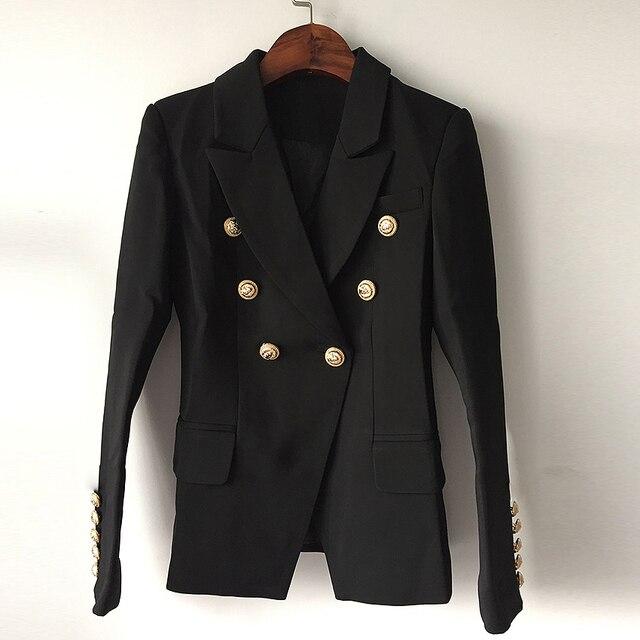 למעלה איכות אופנה חדשה 2019 מעצב בלייזר מעיל נשים של טור כפתורים כפול מתכת האריה כפתורים בלייזר חיצוני גודל S-XXXL