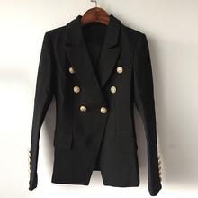 למעלה איכות אופנה חדשה 2020 מעצב בלייזר מעיל נשים של טור כפתורים כפול מתכת האריה כפתורים בלייזר חיצוני גודל S XXXL