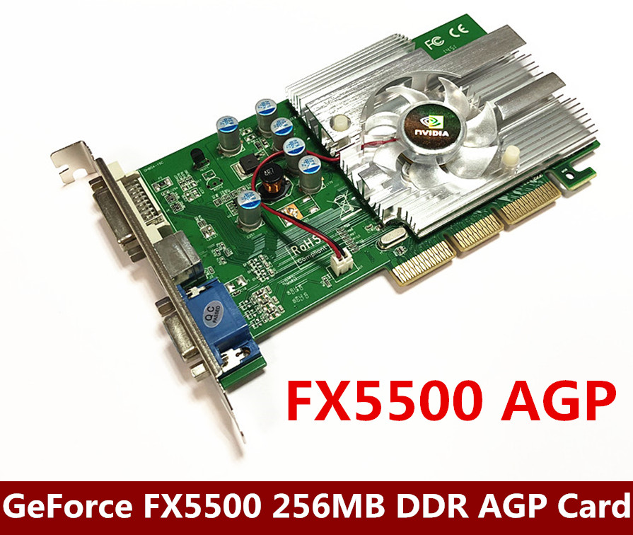 NEW Direct From Factory Free Shipping NEW GeForce FX5500 256MB DDR AGP 4X 8X VGA DVI Video Card