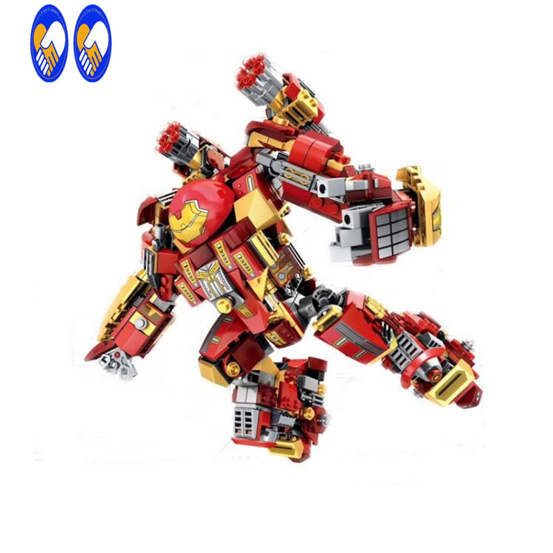 (A Toy A Dream)  MARVEL The Avengers Iron Man Hulkbuster MK44 Action Figure Toy Doll for kids gift Buidling blocks bricks toys marvel super heroes avengers wonda iron man mk anti hulkbuster thor vision ultron assemble building blocks minifig kids toys