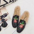 Fashion Women Fur Shoes Rose embroidery Womens Slipper Flats Female Casual Loafer Flats Women Cozy Shoes