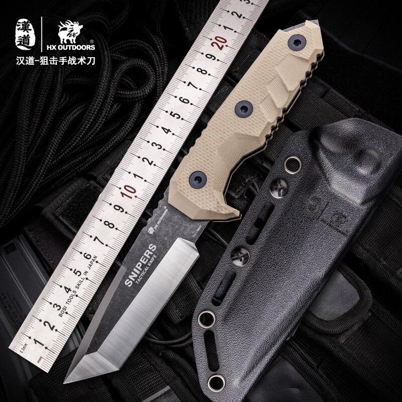 HX EXTÉRIEUR 7Cr17MoTactical Couteaux Lame Fixe Couteau de Survie de Sauvetage Outils Couteaux de Chasse Résistance À La Corrosion de Chasse En Plein Air T