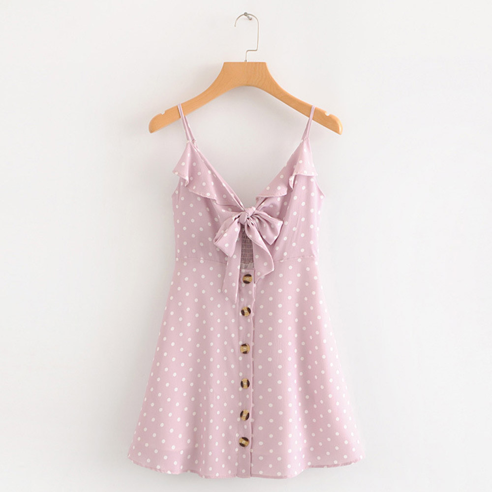 FIRSTTO Sweet Polka Dot Print Backless Chest Lacing Up