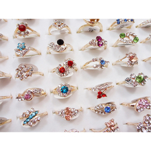 10pcs Fashion Wholesale Mixed Style Color Rhinestone Finger Rings Band for Women Men Jewelry