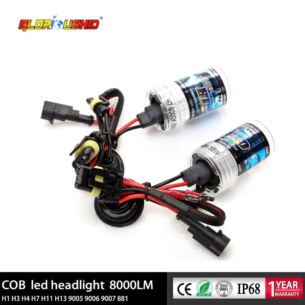 2Pcs 55W H1 Xenon H7 H4 H11 H3 H8 H9 HB4 9006 HB3 9006 H27 881 HID Xenon Bulb For Car Headlight 4300K 5000K 6000K 8000K HID Bulb
