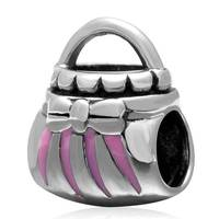 Bolsa com Rosa Esmalte Charme Original 100% Authentic 925 Sterling Silver Beads fit para Charms Pandora pulseiras