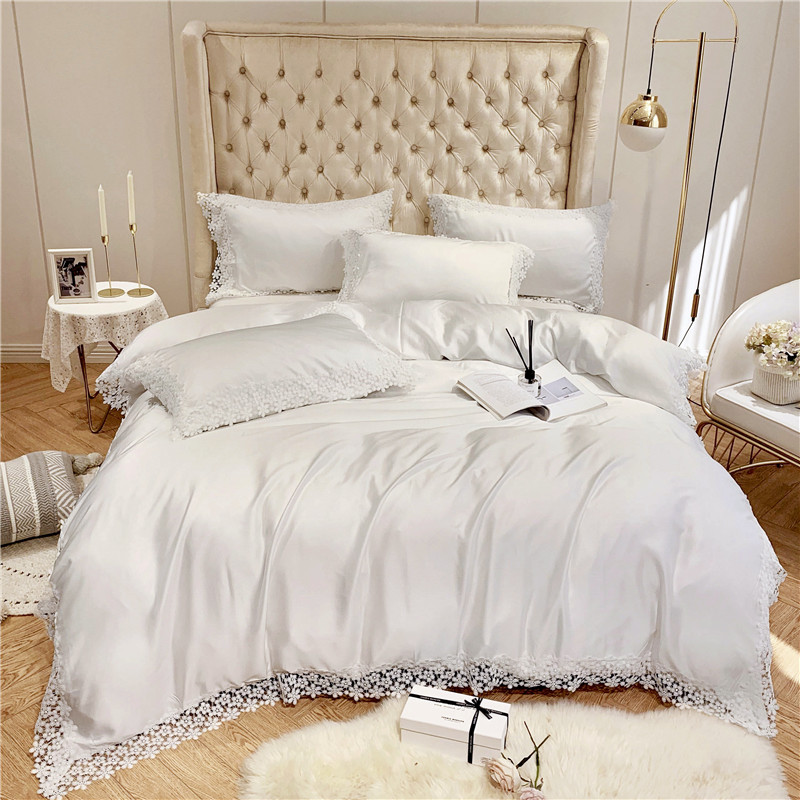 Chic Floral White Lace Summer Tencel silk Bedding Set Lightweight Softest Duvet cover King Queen size