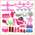 Set of Fashion Jewelry Necklace Earring Bowknot Crown Bags Miroir Hanger Accessory For Bar bie Fashion Dolls Kids Gift for Girls