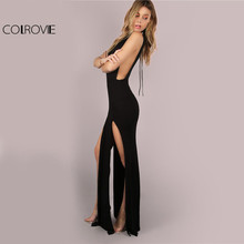 COLROVIE Black Mesh Back Maxi Party Dress 2017 Sexy Double Slit Club Women Bodycon Summer Dresses Girl High Neck Slim Long Dress