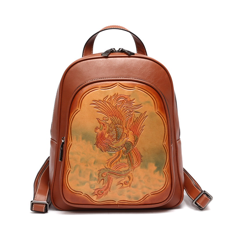 hand carve vintage flower Women High Quality Leather Lady Backpack Handmade Luxury Back pack asus m4a78 vm desktop motherboard 780g socket am2 ddr2 sata2 usb2 0 uatx second hand high quality