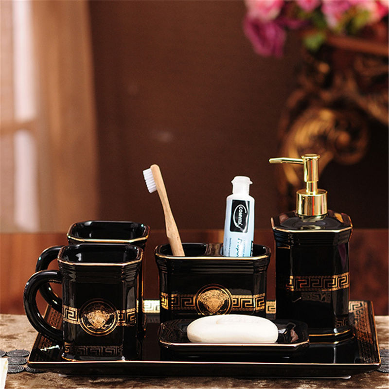 Bathroom Accessories Set Ceramic Soap Dish Soap Dispenser Toothbrush Holder Gargle Cup European Style Bathroom Set