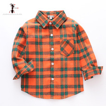Hot Sale 100%Cotton Baby Boy Shirt Turn-down Collar Flannel Blouse Tops Plaid Shirts For 2-12 Years Old Kids Top 1908