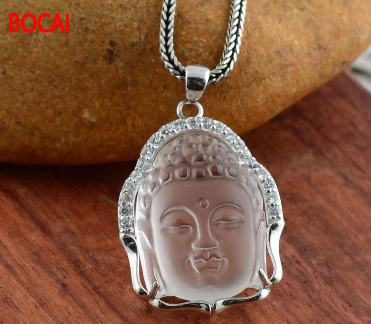 925 sterling silver jewelry natural Buddha Head Pendant with certificate of authenticity Pendant 032309