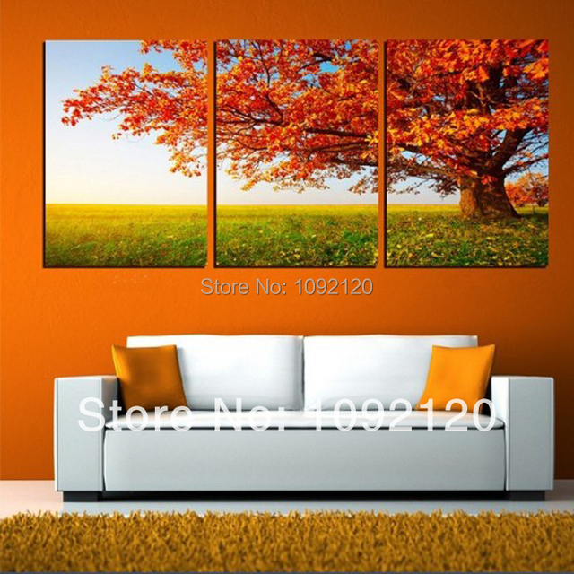 3 Piece Free Shipping Hot Sell Autumn Tree Modern Wall Hang Painting