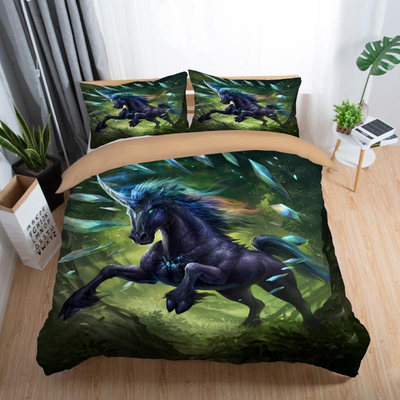 Medusa 3d unicorn game bedding set king queen full single size duvet cover set for kids