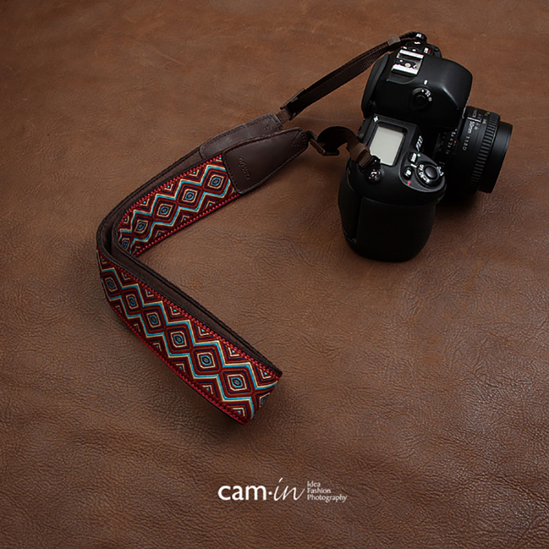 Image 3 - cam in CAM7416 embroidery webbing Cow Leather Universal Camera Strap Neck Shoulder Belt General Adjustable Lanyard-in Camera Strap from Consumer Electronics