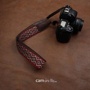 Image 3 - cam in CAM7416 embroidery webbing Cow Leather Universal Camera Strap Neck Shoulder Belt General Adjustable Lanyard