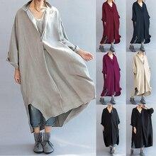 Винтаж более Размеры d платье-рубашка Celmia Для женщин с v-образным вырезом с длинным рукавом Повседневное Разделение Асимметричная мешковатые вечерние миди Vestidos кафтан плюс Размеры