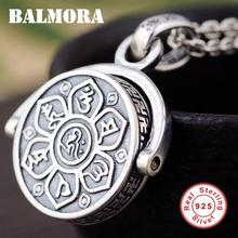 BALMORA 925 Sterling Silver 360 Rapid Rotating Six Words Sutra Pendants&Chain for Men Women Jewelry Gift Ins Style Spin Charm