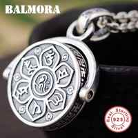 BALMORA 925 Sterling Silver 360 Rapid Rotating Six Words' Sutra Pendants&Chain for Men Women Traditional Religious Jewelry Gift